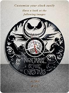 The Nightmare Before Christmas vinyl clock, vinyl wall clock, walt disney pictures vinyl record clock tim burton dark fantasy kids clock wall art gift 172 - (a1)