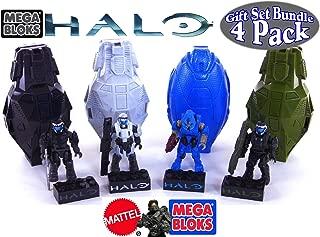 Mega Bloks Halo Drop Pod Metallic Stealth ODST, Arctic ODST, Jungle ODST & Blue Elite Toy Figures Gift Set Bundle - 4 Pack