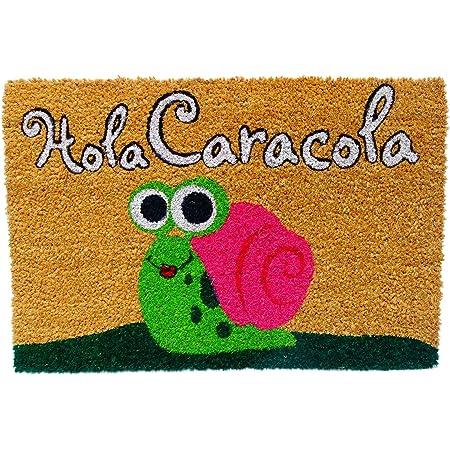 Koko DOORMATS felpudos Entrada casa Originales, Fibra de Coco y PVC, Felpudo Exterior Hola CARACOLA, 40x60x1.5 cm | Alfombra Entrada casa Exterior | Felpudos Divertidos para Puerta