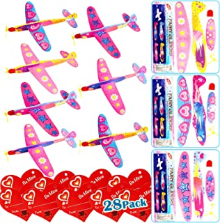 AMENON 28 Packs Valentines Day Gifts for Kids Classroom - 4 In 1 Bag Flying Toys + Valentines Cards with Led Copter Foam A...