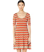 M Missoni - Short Sleeve U-Neck Short Dress with Zigzag Stitch