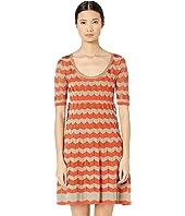 M Missoni - Short Sleeve U-Neck Short Dress with Zigzag Stitch