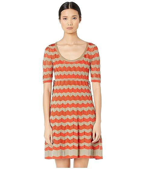 M Missoni Short Sleeve U-Neck Short Dress with Zigzag Stitch