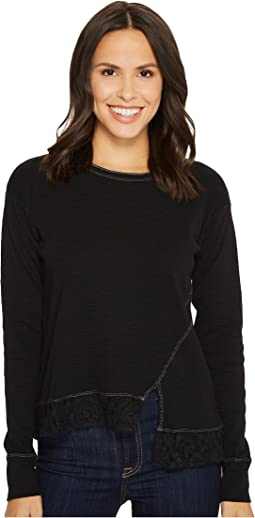 Mod-o-doc - Heather Slub Rib Asymmetrical Seamed Sweatshirt with Lace Trim