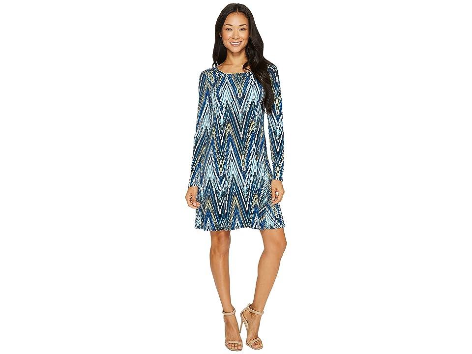 Karen Kane Long Sleeve A-Line Dress (Print) Women