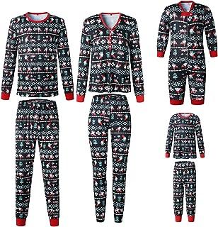 Inlefen Pyjamas Christmas Family Matching Set Xmas Sleepwear Kids Baby Homewear