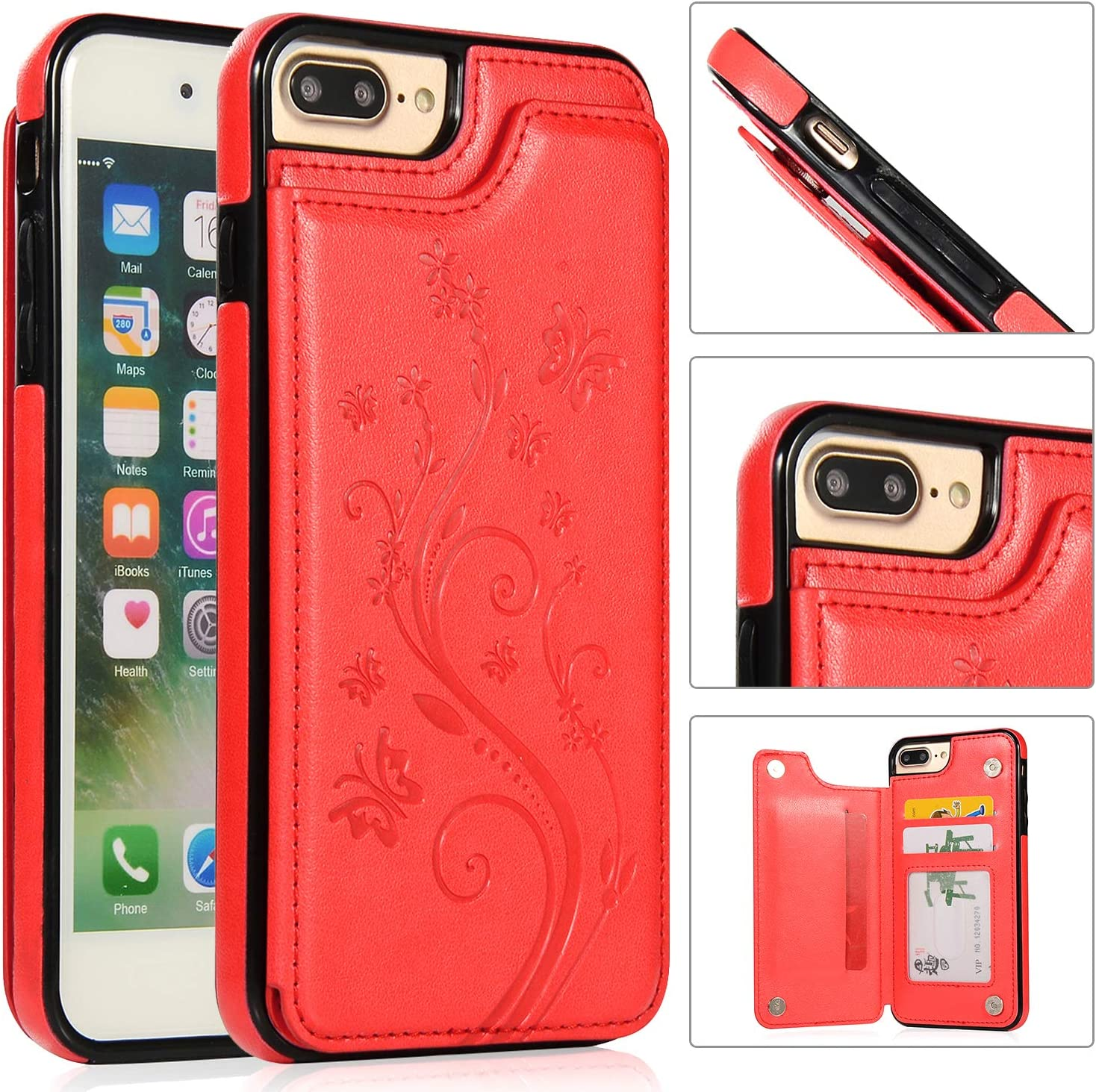 National products Back Quality inspection Wallet Case for iPhone 7 8 QFFUN Stand Elega Plus with