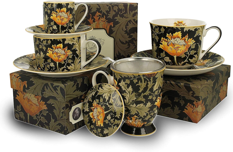 taza de caf/é taza de t/é Duo Colecci/ón Art Gallery by William Morris Chrysatnhemum de porcelana New Bone China en caja de regalo 240 ml