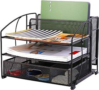 $39 » Flexispot Mesh Desk Organizer Desktop 3 Trays File Holder, 1 Sliding Drawer and 1 Hanging File Holder Vertical Upright Sec...