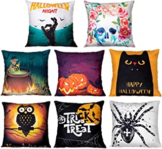 Geefuun 8PCS Halloween Throw Pillow Case Plush Velvet Cushion Cover - Holiday Party Favor Gift Decorations Decor Spider/Ca...