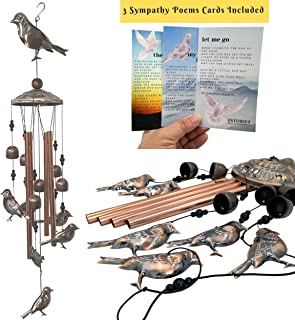 Memorial Wind Chimes for Loss of Loved One Prime, Cardinal Dove Condolence Wind Chimes for Funeral, Sorry for Your Loss Gifts, Bereavement Sympathy Windchimes in Memory with 3 Exclusive Poems & Quote