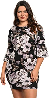 Imaginary Diva Women's Elegant Black and White Floral Dress with Bell Sleeves Plus Size