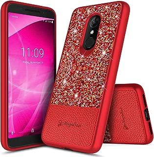 Revvl 2 Case (T-Mobile), NageBee Glitter Crystal Sparkle Shiny Bling Ultra Slim Thin Soft Leather Cute Case for T-Mobile Alcatel Revvl 2 (2018) -Red