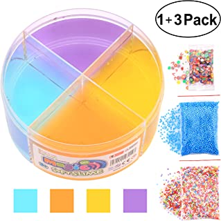 Moceen Clear Crystal Slime - 10 OZ Jumbo Growing Jelly Crystal Slime Cool Textures Sludge Putty Toys, 4 Colors Super Soft Non Sticky Stress Relief Toys for Kids Adults