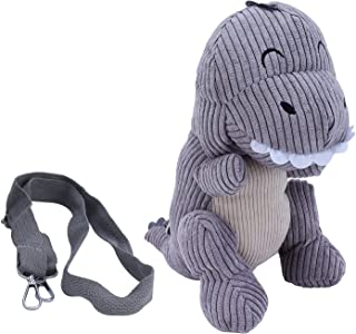 Children Plush Bag, Cute Dinosaur Pattern Messenger Bag Cute Plush Bag for Taking As a Purse for Parks(Light Grey)