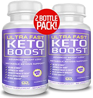 (2-Pack) Ultra Fast Keto Boost Keto Pills for Keto Diet - 1600mg for Energy & Focus Support - Keto BHB Supplement for Men and Women - 60 Day Supply