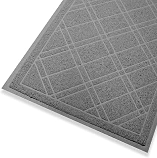 "SlipToGrip Universal Gray Door Mat with DuraLoop - Jumbo 42""x35"" Outdoor Indoor Entrance Doormat - Waterproof - Low Profil..."