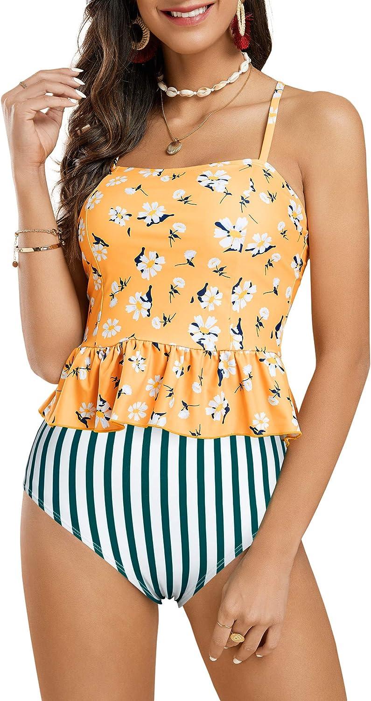Tutorutor Women High Waisted Swimsuits Peplum Tankini Set Ruffle Floral Print Teen Spaghetti 2 Piece Halter Bikini