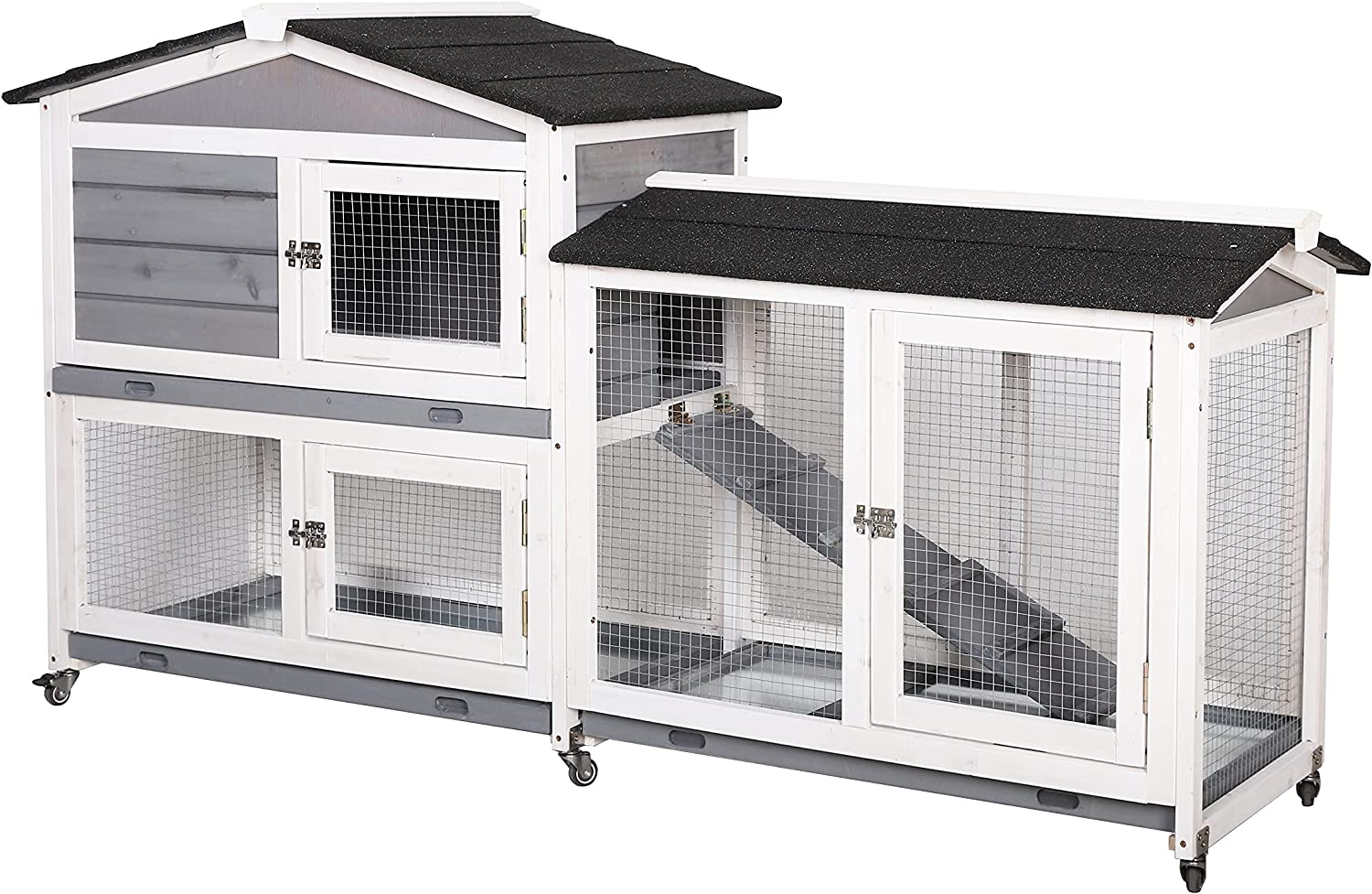 MUPATER Raised Rabbit Hutch Bunny Cage for Outdoor with Casters and  Removable Trays, Large Wooden Guinea Pig House with Run and Ramp for Small  Animal ...