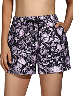 OUGES Women's Athletic Shorts with Pockets Workout Yoga Shorts Running Hiking Cycling Quick Dry