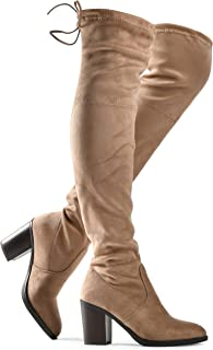 Women's Haley Over The Knee Pull On Boot - Drawstring Back Comfort Block Chunky Heel Pointy Round Toe