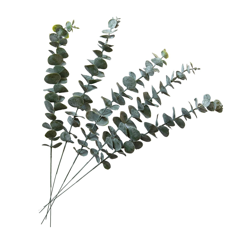 SUUKI Artificial Eucalyptus Greenery Stems 5Pcs Fake Real Touch Silver Dollar Leaves Faux Dried Eucalyptus Plants for Floral Arrangement Wedding Bouquet Centerpiece Home Kitchen Decor