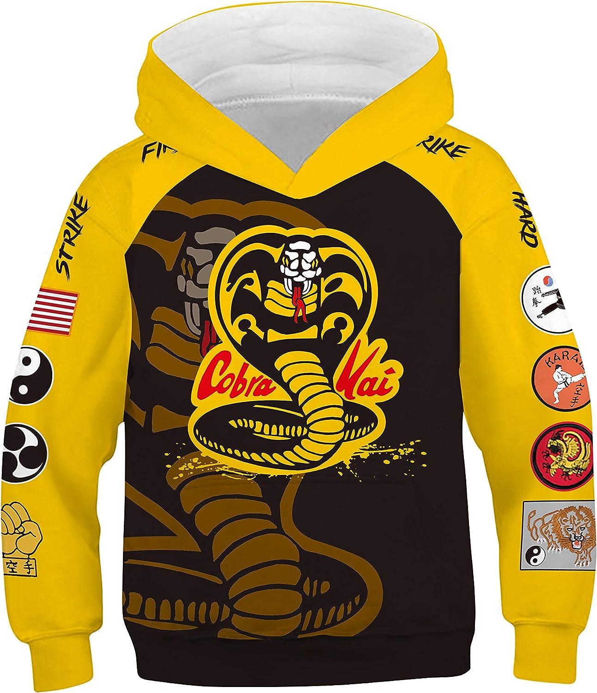 Kids Cobra Hoodie Fist Printed Ranking TOP2 Sweatshirt Kai Be super welcome Karate Cos Cosplay