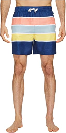 Original Penguin - Color Block Stripe Elastic Volley Stretch Swim Shorts
