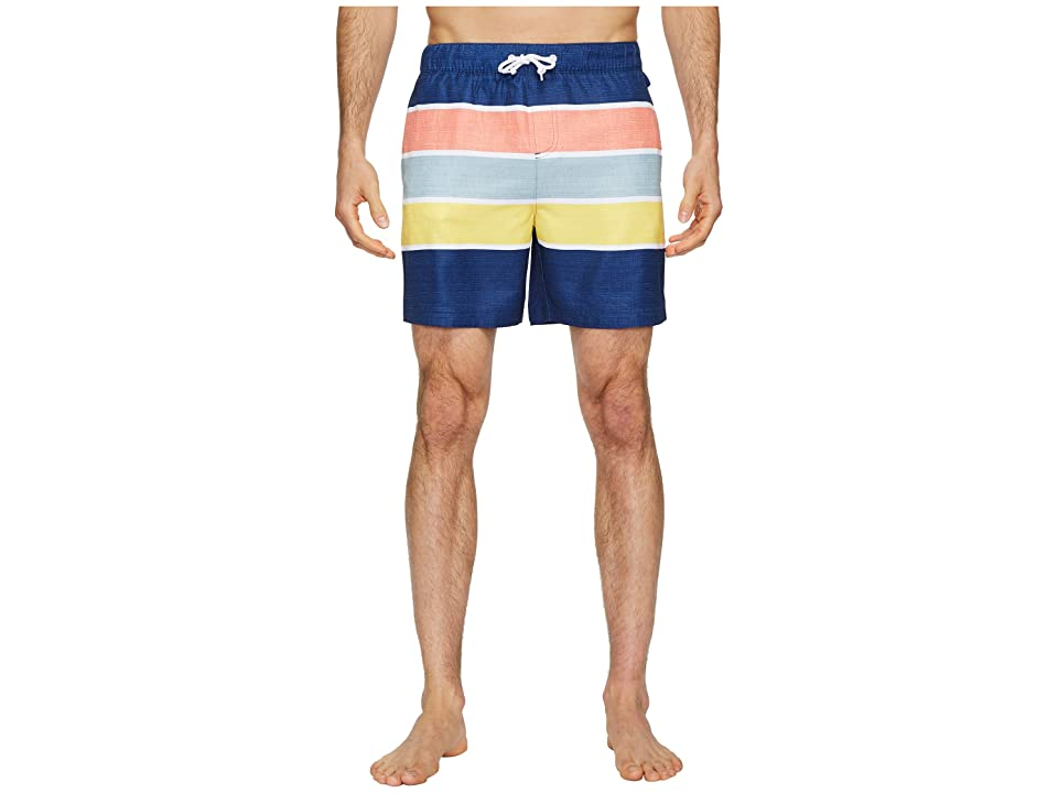 Original Penguin Color Block Stripe Elastic Volley Stretch Swim Shorts (Blue Depths) Men