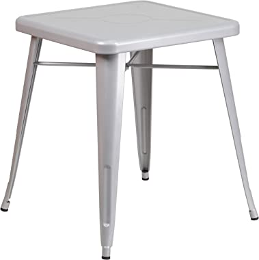 """Flash Furniture Commercial Grade 23.75"""" Square Silver Metal Indoor-Outdoor Table"""