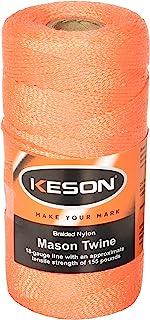 Keson OB1000 18 Gauge Braided Nylon Mason Twine, Orange, 1,000-Foot