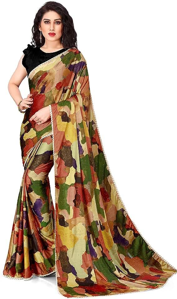 Indian SOURBH Women's Woven Lycra Saree with Blouse Piece Saree