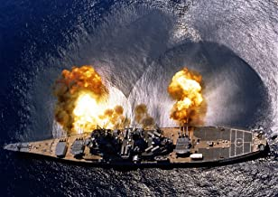 USS Iowa (Bb-61) Fires a Full Broadside of Nine 1650 and Six 538 Guns During a Target Exercise Near Vieques Island, Puerto...