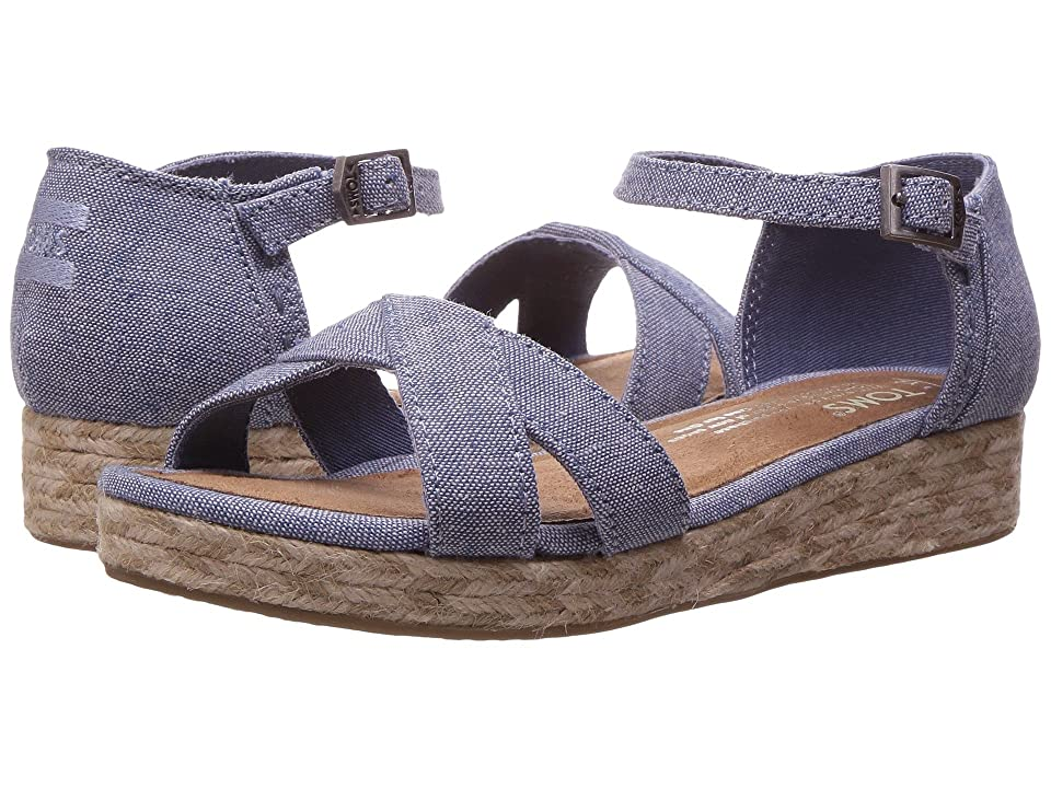 TOMS Kids Harper Wedge (Little Kid/Big Kid) (Blue Slub Chambray) Girls Shoes