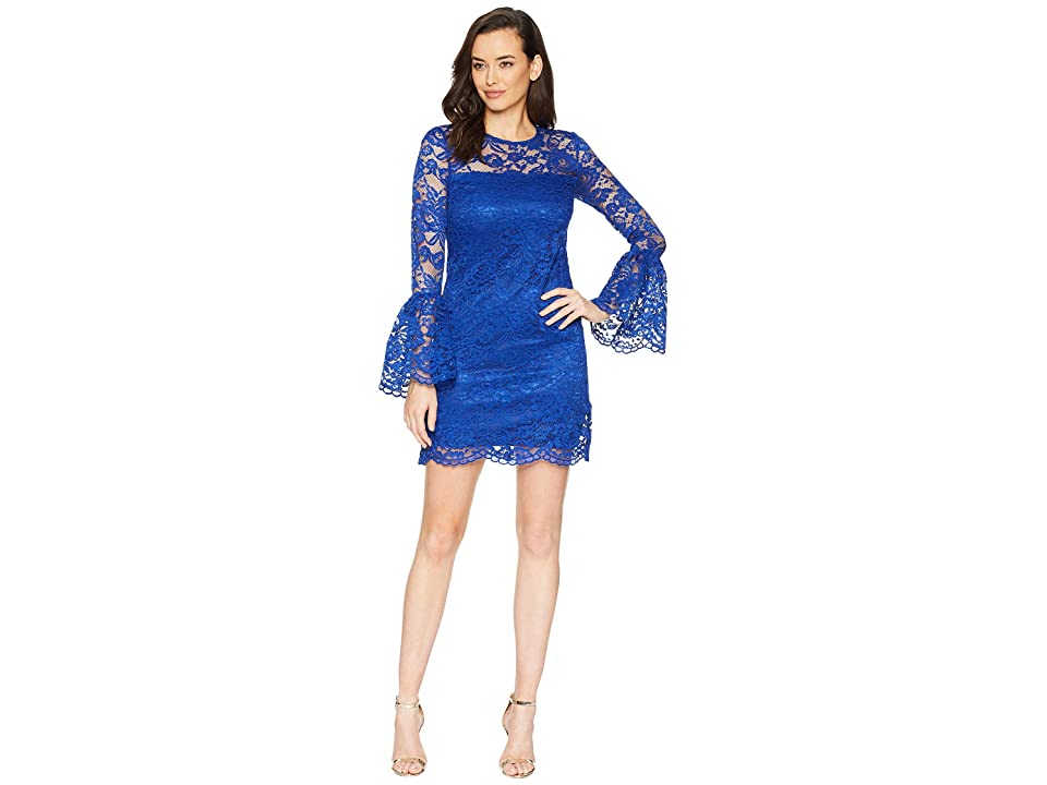 Laundry by Shelli Segal Lace Dress with Bell Sleeves (Cobalt) Women