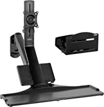 VIVO Premium Black Single Monitor and Keyboard Counterbalance Sit-Stand Wall Mount and CPU Holder | Ergonomic Standing Transition Workstation (STAND-SIT1WD)