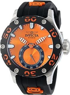 Men's 12704 Russian Diver Orange Dial Black Silicone Watch