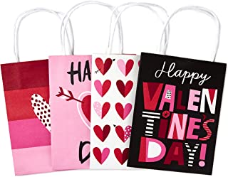 "Hallmark 7"" Small Valentine's Day Paper Gift Bags Assortment (Pack of 4: Pink and Red Hearts) for Kids, Treats, Galentines..."