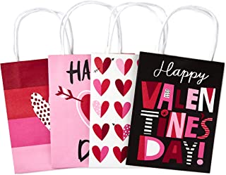 Hallmark Small Valentine's Day Paper Gift Bags Assortment, Valentine Hearts (Pack of 4)