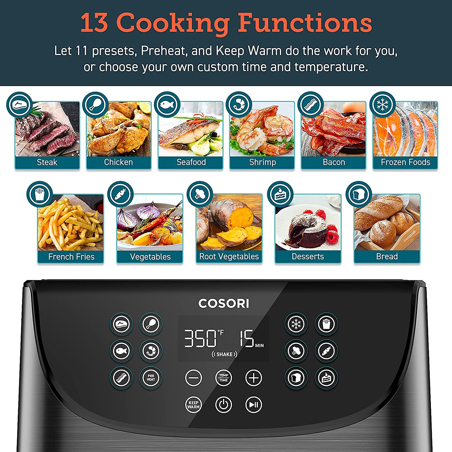 COSORI AirFryerMaxXL(100 Recipes) Digital Hot Oven Cooker, One Touch Screen with 13 Cooking Functions, Preheat and Shake Reminder, 5.8 QT, Black