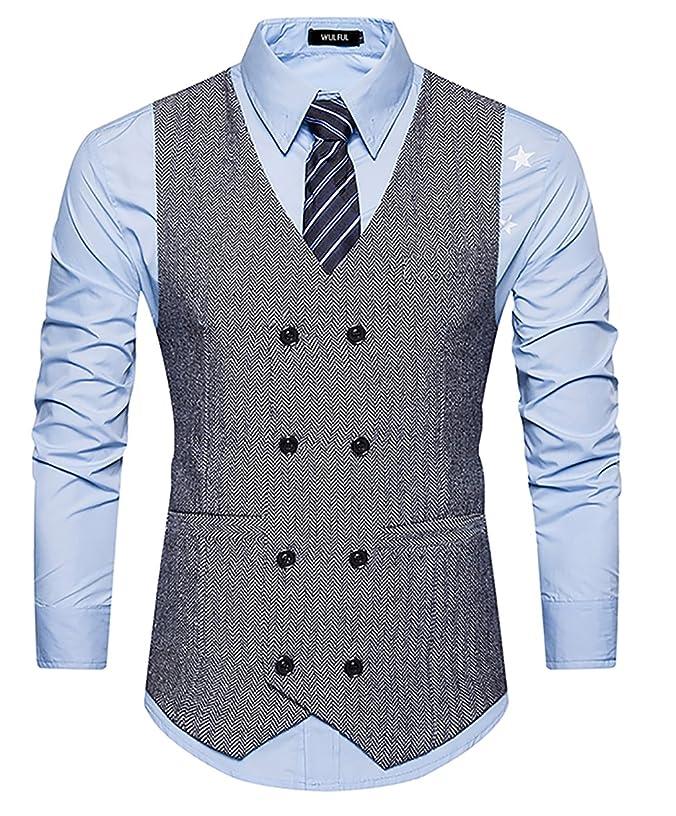 WULFUL Mens Slim Fit Double Breasted Tweed Waistcoat Vintage Gentleman British Suit Vest