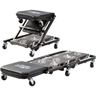 Gas Monkey Z Creeper Mechanic Seat - Six Rolling Casters with 300 Lbs Capacity for Automotive Car...