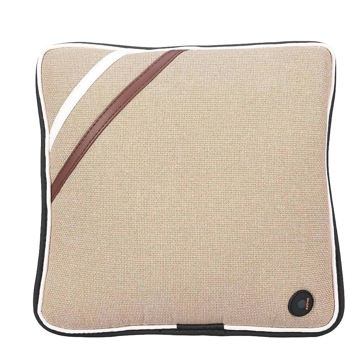 底父方のプレミア電気マッサージの枕、旅行車の家、セリウム/FDA/RoHS/LVDの証明のためのUSBの再充電可能で柔らかい綿の首の背部クッションのマッサージャー(Linen Beige)