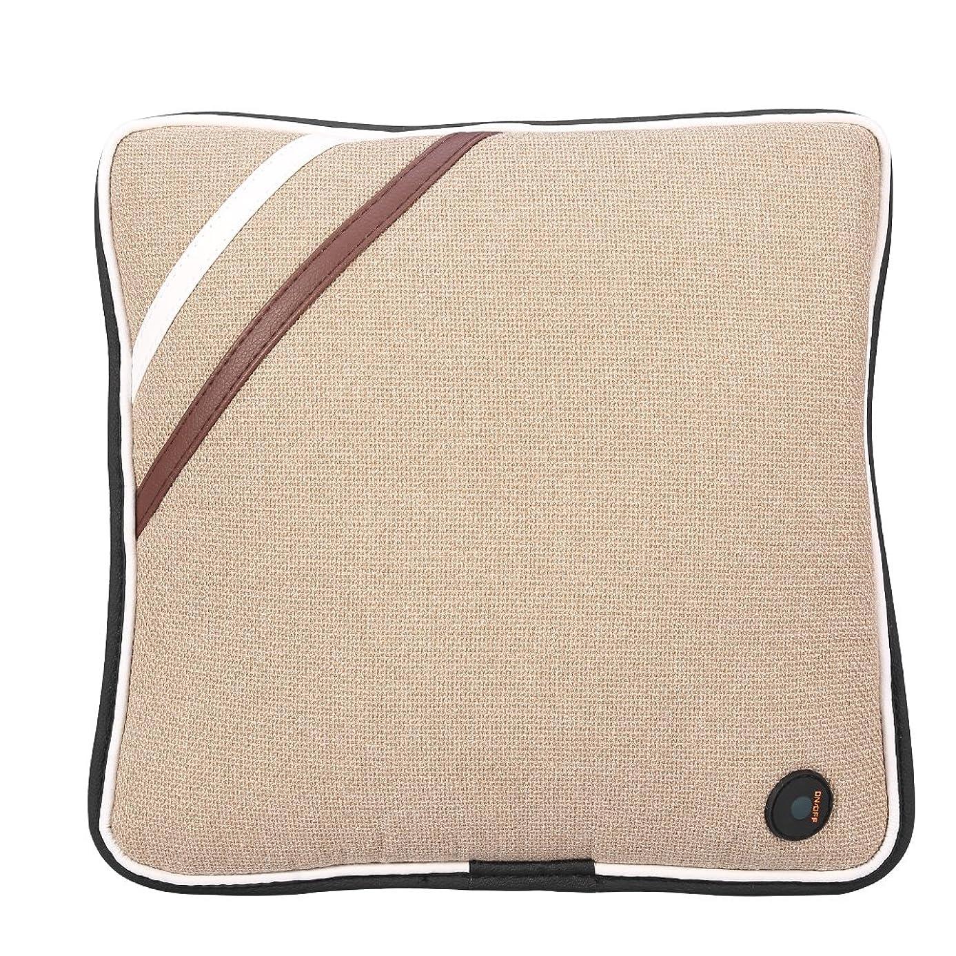 幾何学忠実構成する電気マッサージの枕、旅行車の家、セリウム/FDA/RoHS/LVDの証明のためのUSBの再充電可能で柔らかい綿の首の背部クッションのマッサージャー(Linen Beige)