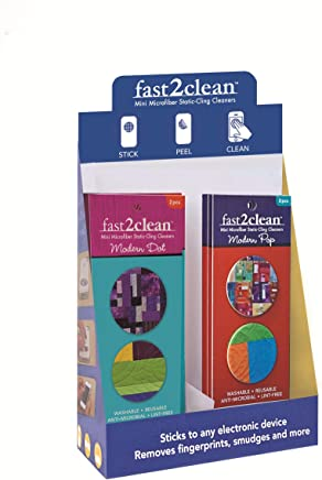 fast2clean (TM) Modern Bright Mini Microfiber Static Cling Cleaners: Pop Display