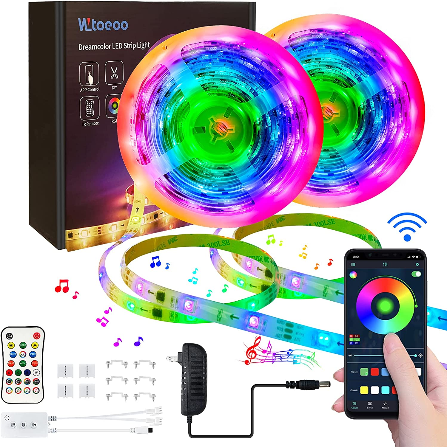 Strip Lights WLtoeoo Smart Challenge the lowest price of Japan ☆ Led Music Outlet sale feature Sync Blu RGBIC