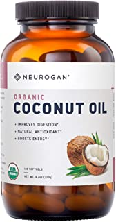 Neurogan Organic Coconut Oil Capsules, 1000mg 120 Softgels, Extra Virgin Raw Coconut Oil Supplement - Hair Growth, Radiant Skin & Natural Weight Loss - Unrefined Coconut Oil Rich in MCFA and MCT