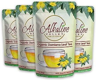 Organic Damiana Tea - 15 Unbleached/Chemical-Free Damiana Tea Bags - (Pack of 4) - Caffeine-Free, No GMO, 100% Alkaline