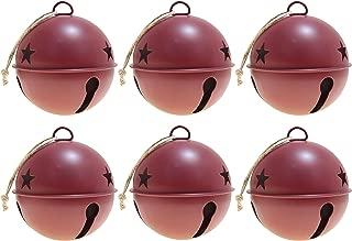 Haute Decor Jingle Bell Ornaments, 3.35-inch Diameter, 6-Pack (Red)
