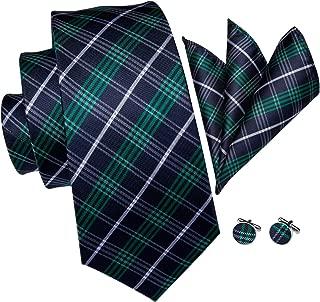 Hi-Tie Men Classic Green Teal Tie Necktie with Cufflinks and Pocket Square Tie Set